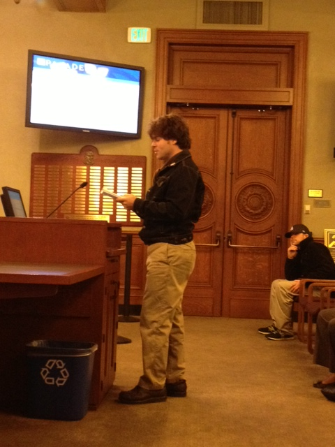 Cody reciting his poem at the City Council to support a Housing Commission, Feb. 3rd, 2014