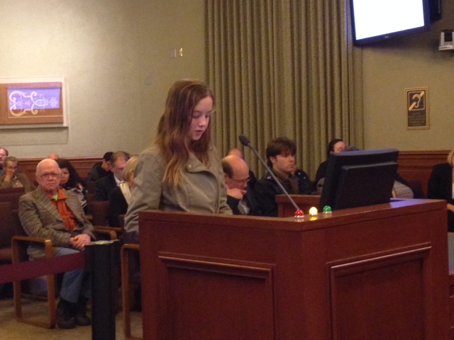 Natalie Brown, 11, speaking at the Pasadena City Council, Monday, Feb. 3, 2014