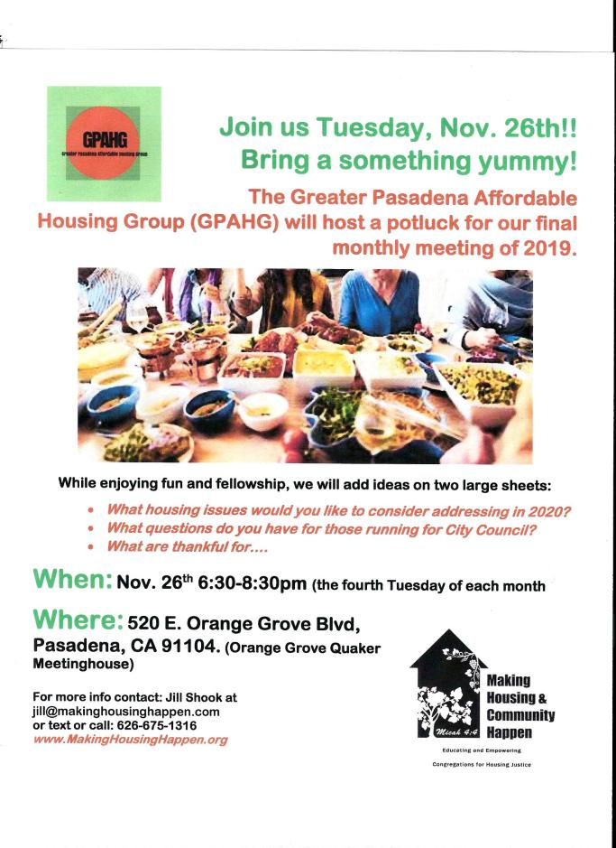 Nov 26th, 2019 GPAHG potluck