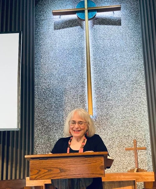 Jill preaching at Knox