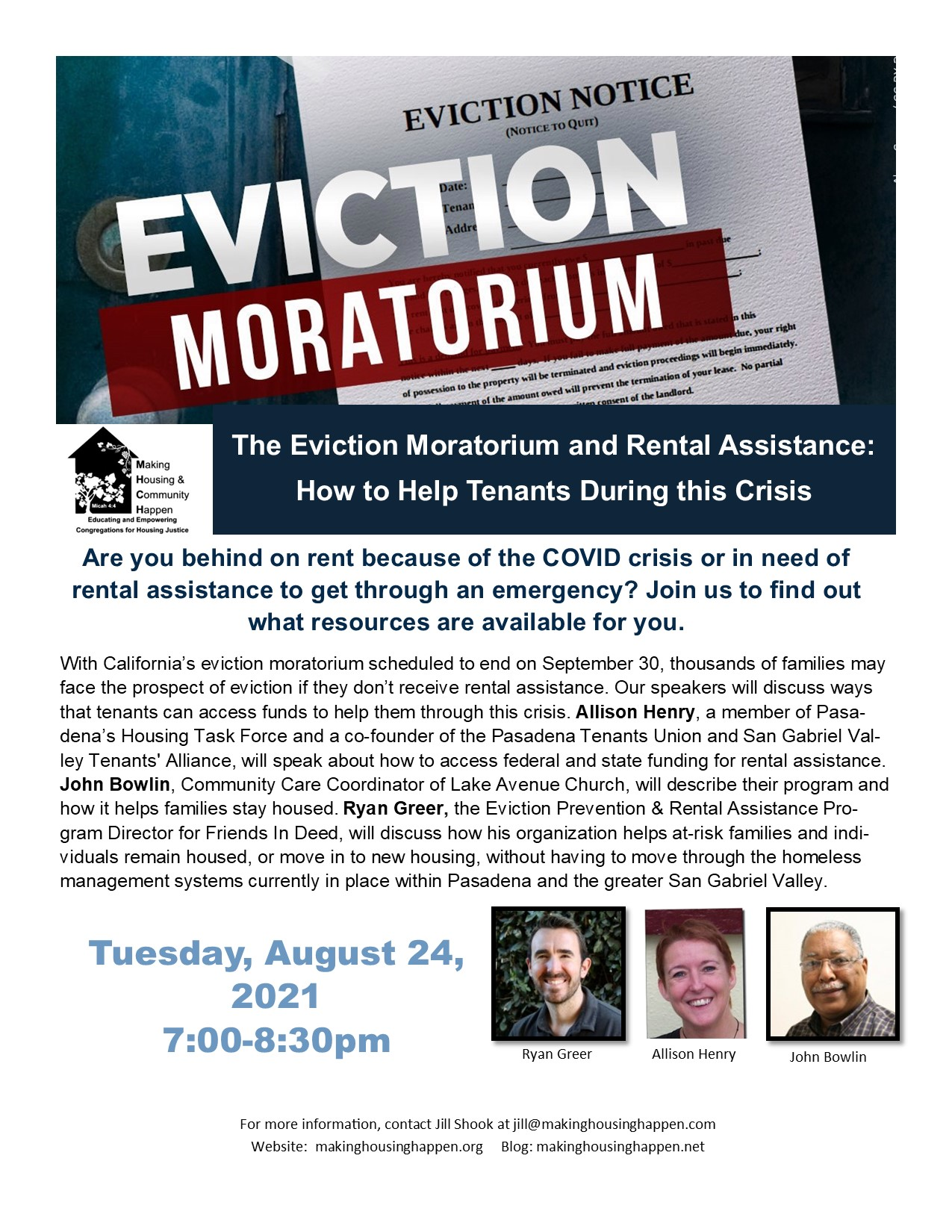 Housing Justice Forum August Eviction Moratorium Wix